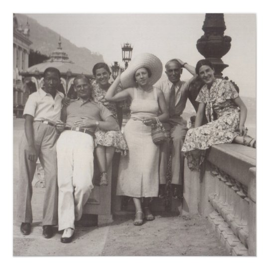Group of friends in Cannes, 1930s Poster