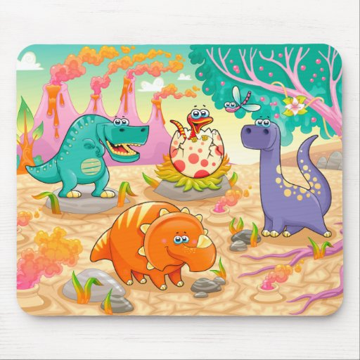 Group of funny dinosaurs in  prehistoric landscape mouse pads