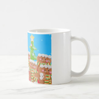 group of gingerbread men with christmas trees mugs