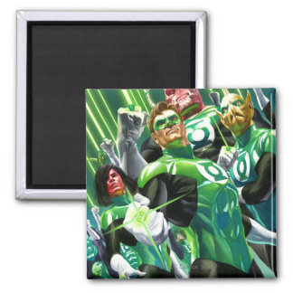 Group of Green Lanterns Square Magnet