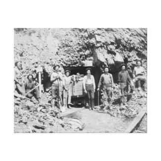 Group of Men outside of a Mine Photograph Canvas Print
