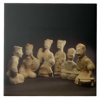 Group of Musicians, Dancers and Servants (terracot Large Square Tile