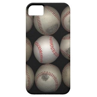 Group of old baseballs on black background iPhone 5 case