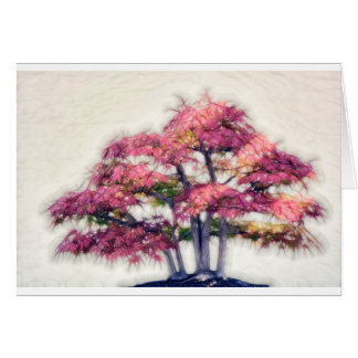 Group of Painterly Bonsai Maple Trees Card