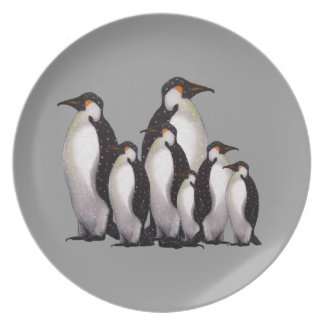 Group of Penguins: Oil Pastel Freehand Art Plate