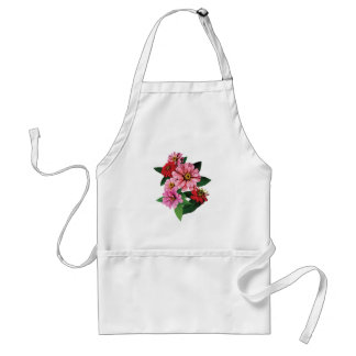 Group of Pink and Red Zinnias Standard Apron