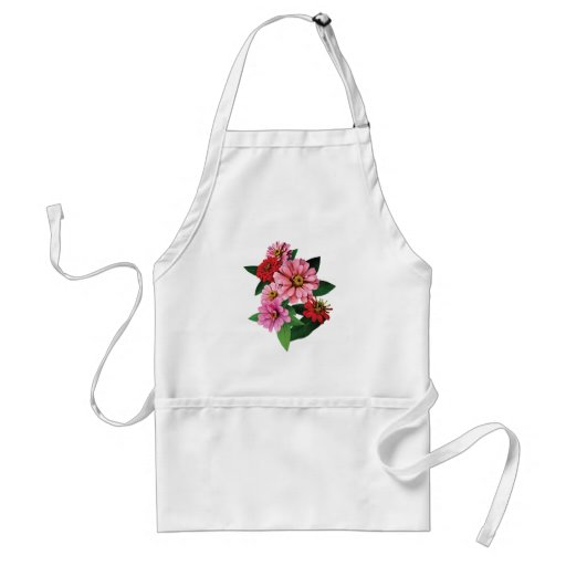 Group of Pink and Red Zinnias Aprons