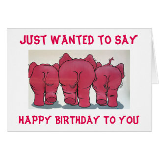 GROUP OF PINK ELEPHANTS HAPPY BIRTHDAY TO YOU! GREETING CARD