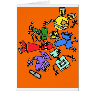 Group of robots 3 greeting card