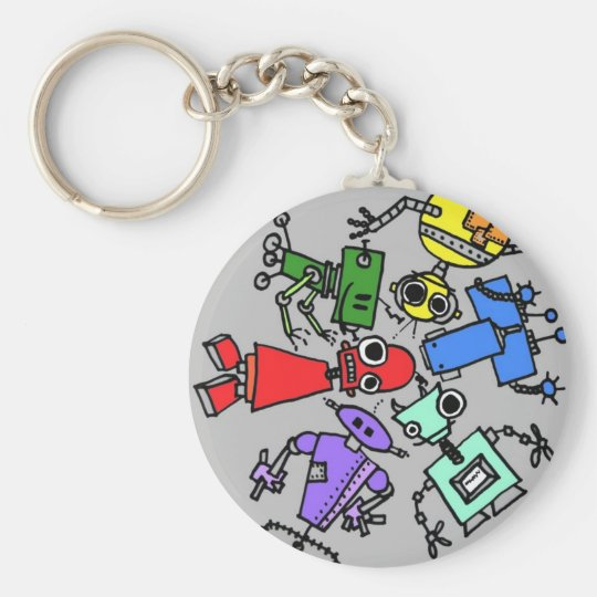 Group of robots 4 basic round button key ring