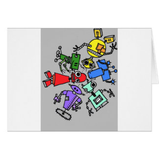 Group of robots 4 greeting card