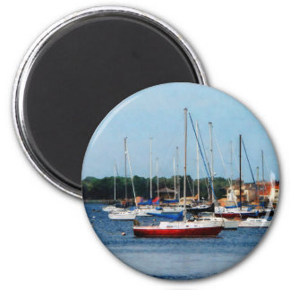 Group of Sailboats Newport RI 6 Cm Round Magnet