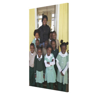 Group of schoolchildren standing with their canvas print