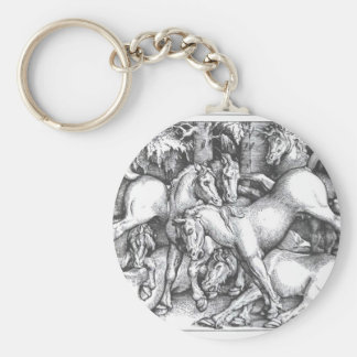 Group of Seven Wild Horses by Hans Baldung Basic Round Button Key Ring