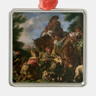 Group of shepherds with a horse Silver-Colored square decoration