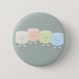 Group of smiling marshmallows 6 cm round badge