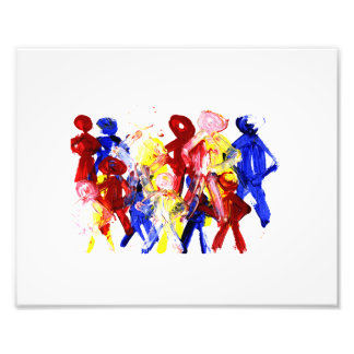 Group of standing stick figures finger painting re photo