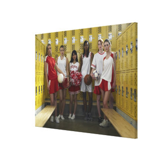 Group of teenage girls (15-17) standing in canvas print