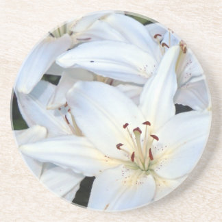 Group of White Lilies Drink Coaster