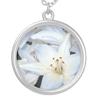 Group of White Lilies Round Pendant Necklace