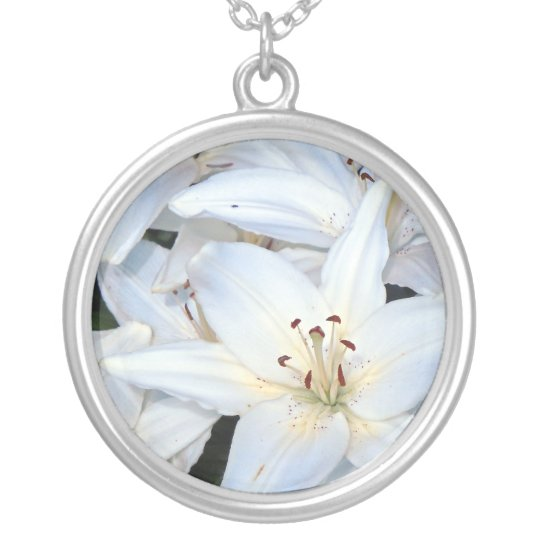 Group of White Lilies Silver Plated Necklace