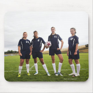 group portait of teen girl soccer players mouse mat