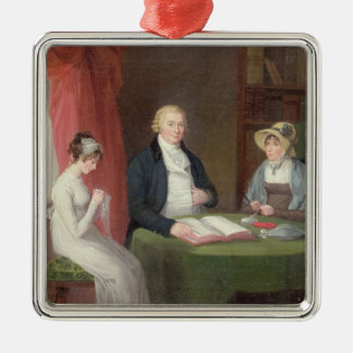 Group Portrait at a Drawing Room Table (oil on can Christmas Ornament