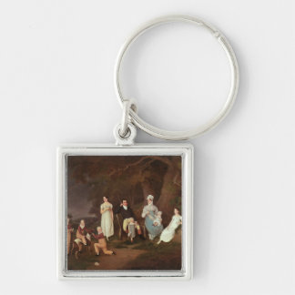 Group portrait of a Squire, his Wife and Children Silver-Colored Square Key Ring