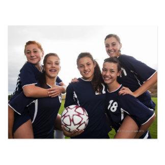 group portrait of teen girl soccer players postcard