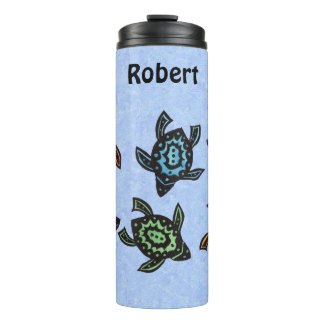 Group Turtles Brightly Colored Abstract Shells Thermal Tumbler