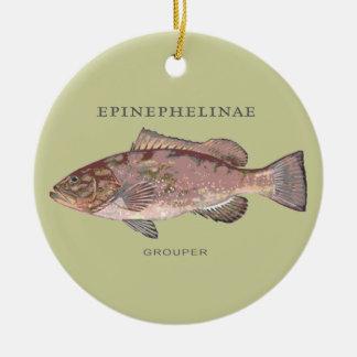Grouper Fish Illustration Christmas Ornament