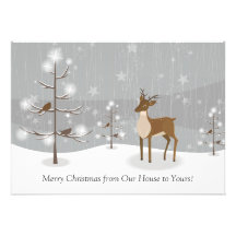 GROUPON Deer Birds Snowflakes Forest Christmas Announcements