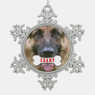 GROUPON Photo Pet with Custom Bone Name V02C Snowflake Pewter Christmas Ornament