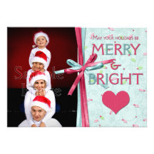 GROUPON Pink Teal Holly Merry and Bright Photo Personalized Invites