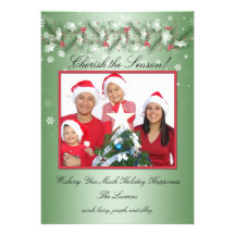 GROUPON Red and Green Holly, Snowflakes Photo Custom Announcements