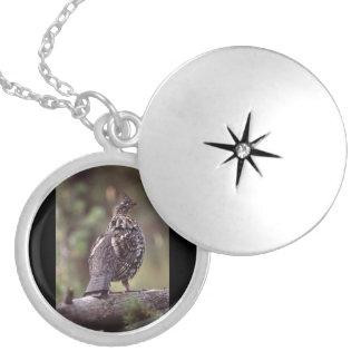grouse round locket necklace