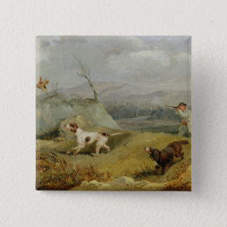 Grouse Shooting (oil on canvas) 15 Cm Square Badge