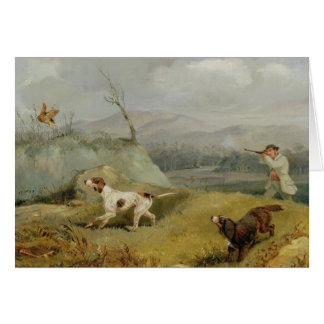 Grouse Shooting (oil on canvas) Card