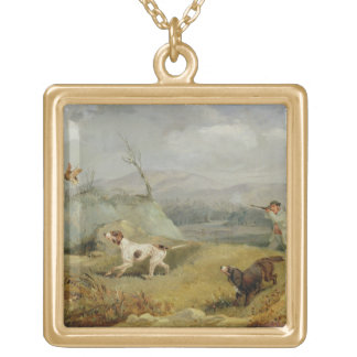 Grouse Shooting (oil on canvas) Gold Plated Necklace