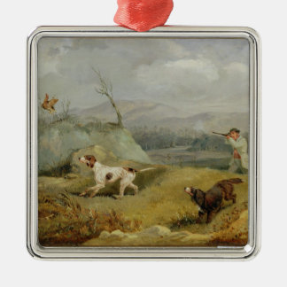 Grouse Shooting (oil on canvas) Silver-Colored Square Decoration
