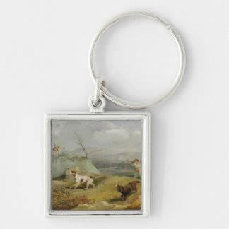 Grouse Shooting (oil on canvas) Silver-Colored Square Key Ring