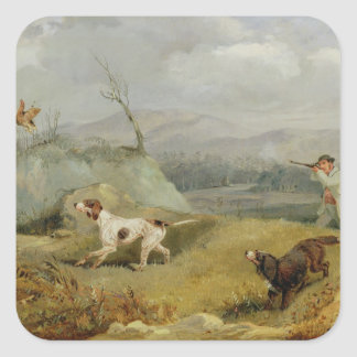 Grouse Shooting (oil on canvas) Square Sticker