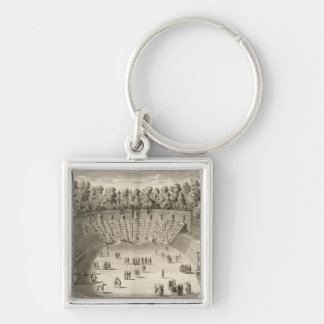 Grove of the Salle du Bal, Versailles, from 'Les P Silver-Colored Square Key Ring