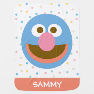 Grover Baby Big Face| Add Your Name Baby Blanket