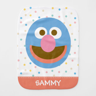 Grover Baby Big Face  Add Your Name Burp Cloth