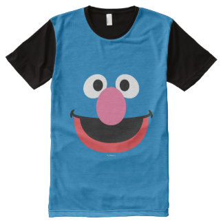 Grover Face Art All-Over Print T-Shirt