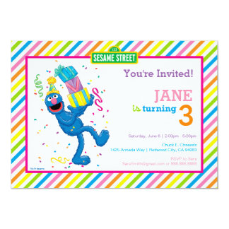 Grover Striped Birthday Card