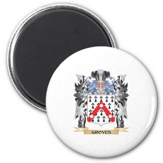 Groves Coat of Arms - Family Crest 6 Cm Round Magnet