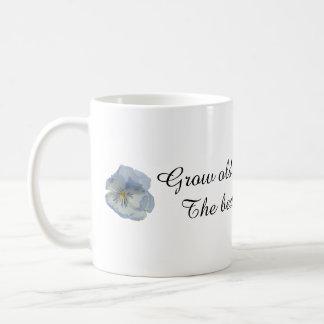 Grow Old Along With Me Blue Pansies Gift Mug