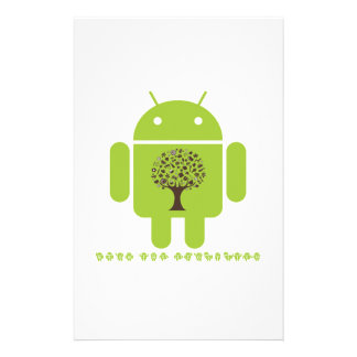 Grow The Ecosystem (Bug Droid Brown Tree) Custom Stationery
